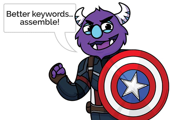 Monster in a goofy costume stating the searched product cannot be found