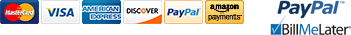 We accept credit cards, Paypal and Amazon Payments